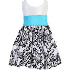 Black Velvet Flocked Damask on White Taffeta Dress with Aqua Blue Sash... ($72) ❤ liked on Polyvore featuring dresses, white ruched dress, long formal dresses, tea length dresses, white formal dresses and formal dresses