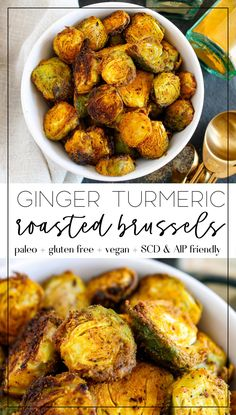 These ginger turmeric roasted Brussel sprouts are the perfect side dish for any meal. They're grain free, gluten free, vegan, paleo AND Specific Carbohydrate Diet. The turmeric also helps with anti inflammation! Vegan Side Dishes, Vegetable Side Dishes, Side Dish Recipes, Food Dishes, Turmeric Recipes, Vegetarian Recipes, Cooking Recipes, Healthy Recipes, Vegan Brussel Sprout Recipes