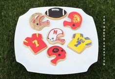 College Football Jerseys and Helmets #cookies by The Baked Equation