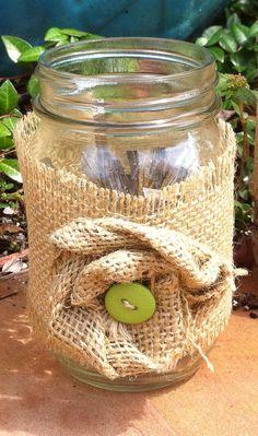 Burlap Labels for Mason Jars with Button Flower by PetalsandChalk, $6.00
