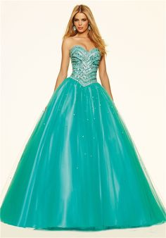 Gorgeous Ball Gown Drop Waist Turquoise Tulle Beaded Prom Dress Corset Back
