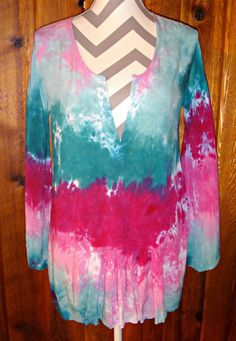 Pink & Green High Low Tunic Top Cover-up Bell 3/4 Sleeve Tie Dye Rayon Blouse #LocalCelebrity #Tunic #Casual