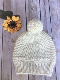 Milky White Hat with Pom Pom - size up to 10 years old by SweetKnitsStudio on Etsy Pom Pom Hat, Girl With Hat, 10 Years, Knitted Hats, All Things, Buy And Sell, Knitting, Handmade, Stuff To Buy
