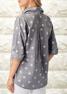 Women Fashion Sleeve V-neck Blouse Polka Dot Print Turndown Collar Shirt Black Dress Outfits, Grey Outfit, Casual Outfits, Fashion Outfits, Womens Fashion, Polka Dot Blouse, Polka Dot Print, Polka Dots, Polka Dot Sweater