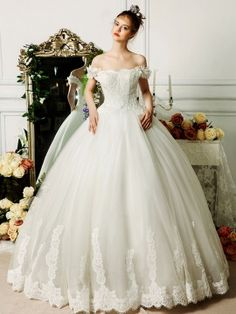 Elegant White Tulle Lace Ball Gown Off The Shoulder Princess Wedding Dress u discount Wedding