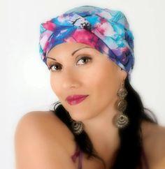 Blue Floral Turban Chemo Head Wrap Alopecia Scarf, Pink, Fuchsia, Boho, Hat & Scarf Set - pinned by pin4etsy.com