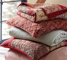 Georgia Patchwork Quilt & Sham - Red #potterybarn