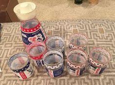 7 Vintage Libbey Apollo Drinking Glasses & Juice Carafe Pitcher.  ID# 21-23