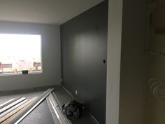 We had the painter do just this one wall in a deep grey.