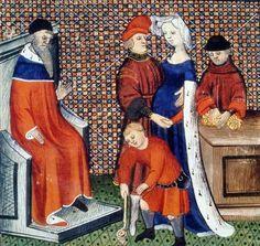 BnF - Dossier pédagogique - L'enfance au Moyen Âge. Le petit garçon joue avec une toupie [=top]