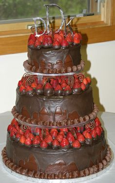Chocolate Wedding Cakes | Death by Chocolate and strawberries wedding cake