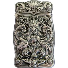 Antique Gorham Art Nouveau sterling silver match safe with fantastic repousse of a mythological figure on the front and more repousse on the back with