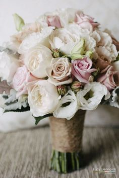 bouquet of soft antique and pale pink roses white lisianthus ivory david austin roses silver dusty foliageadd some dark purple snapdragons in there as