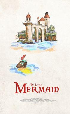 The Little Mermaid alternative Disney movie poster by Derek Payne Walt Disney Movies, Disney Movie Posters, Old Movie Posters, Classic Movie Posters, Original Movie Posters, Disney Disney, Disney Villains, Film Posters, Vintage Disney Posters