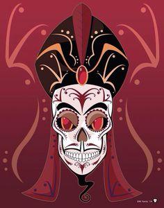 Jafar as a sugar skull by Mickel Yantz for Sketch Dailies