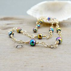 Rainbow Anklet, Titanium Hematite Gemstone Ankle Bracelet, Dainty Gold Anklet on Etsy, $30.00
