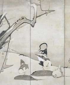 Detail. 松梅群鶏図屏風右隻 Pine, Ume (Plum) and Chickens. Japanese folding screen pair 伊藤若冲 ITO Jakuchu. 東京国立博物館 Tokyo National Museum