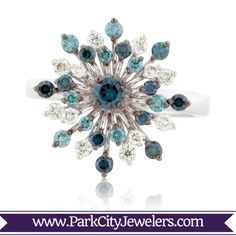Blue & White Diamond Snowflake Ring White Gold with Blue & White Diamond Snowflake Ring Snowflake Ring, Snowflake Jewelry, Snowflakes, Blue And White, White Gold, Bling Bling, Vintage Inspired, Jewels, Diamond