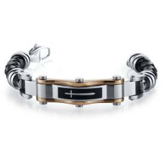 Contemporary Cross Motif Black Woven Leather Mens Bracelet Peora. $39.99. Save 60% Off!