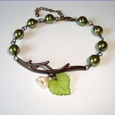 green pearls?! yes please!!Green Pearls and Flower Branch Antique Bracelet by oldisnewnow, $13.95