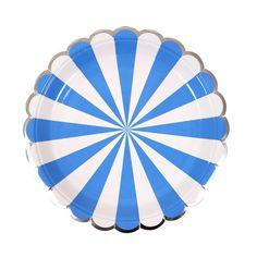 "Plates | Meri Meri | Toot Sweet | Blue & White Stripe Small Plates 7"" | Paper Plates | Party Plates | Party Supplies | The Party Darling by ThePartyDarlingLLC on Etsy"