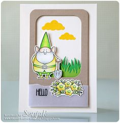 "handgemachte Karte, Freundschaftskarte | handmade card, friendship card - My Favorite Things ""You Gnome Me"", ""Stitched Rounded Rectangles"", Lawn Fawn ""Grassy Border"", Memory Box ""Puffy Clouds"", Caran d'Ache ""Luminance"""