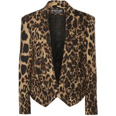 Balmain Leopard-print wool-blend blazer ($1,360) ❤ liked on Polyvore featuring outerwear, jackets, blazers, balmain, coats, tan, brown blazer, brown jacket, leopard blazer and blazer jacket