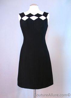 Vintage 60s LUIS ESTEVEZ Dress Cutout Neckline Small bust 35 at Couture Allure Vintage Clothing