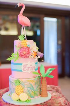 Flippin' Pinks and Florals First Birthday Themes, Themed Birthday Cakes, Birthday Cake Girls, Girl First Birthday, Themed Cakes, First Birthdays, Birthday Ideas, Happy Birthday Olivia, Tropical Party Decorations