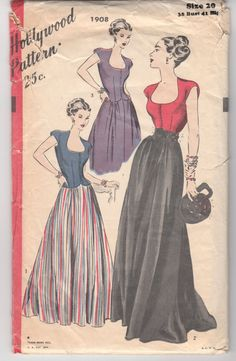 """Vintage Sewing Pattern Evening Blouse and Reversible Skirt 1940's Hollywood 1908 in 38"""" Bust"""