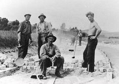 Workers Cutting Stone Blocks At A Quarry Now Part Of Barre