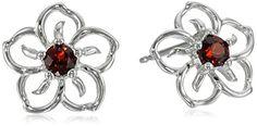 Sterling Silver Gemstone Flower Stud Earrings
