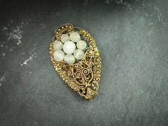 Sale Antique 1920's Brooch gold wash by SilverShadowShop on Etsy, $18.00