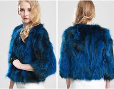 Short Real Raccoon Fur Coat Raccon Fur Jacket Navy Blue Fur Coat With Three Quarter Sleeves For Women For Sale 20154 $271.79