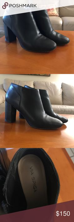 "VIA SPIGA Black bootie with heels - very trendy & comfy!! | Pre-Owned / in excellent conditions & gorgeous! Would love to keep, but they are unfortunately slightly big on me 😔 | Model: ''Silvie' Block Heel Bootie | Aprox. 3 1/2"" Heel 