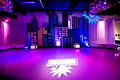NYC Bat Mitzvah Party Decorations, GOBO Lighting & Dancefloor Backdrop {Planner: Perfect Party Orlando, Jennifer Werneth Photography} - mazelmoments.com