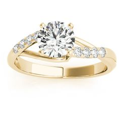 Allurez Diamond Accented Bypass Engagement Ring Setting 18k Yellow... ($1,230) ❤ liked on Polyvore featuring jewelry, rings, engagement rings, twist ring, band rings, twisted band ring e yellow gold engagement rings