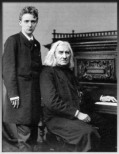 Franz Liszt with his pupil, Bernhard Stavenhagen. London, April, 1886.