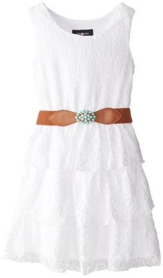 Amy Byer Big Girls' Daisy Lace Belted Tier Dress, White, 12