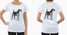 Airedale+Drawing+Women's+Loose-Fit+T-Shirt+(White)