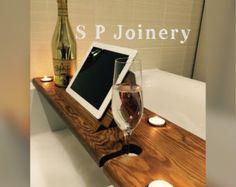 Handmade Wooden Bath Tray with Tablet / by SPJoineryNorthWales Bathtub Board, Bathtub Tray, Bathroom Trays, Space Saving Shelves, Bath Rack, Bathtub Decor, Wooden Bath, Old Pallets, Bath Caddy