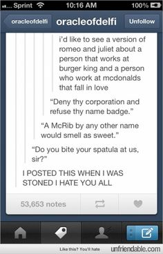 Romeo and Juliet of the fast food world