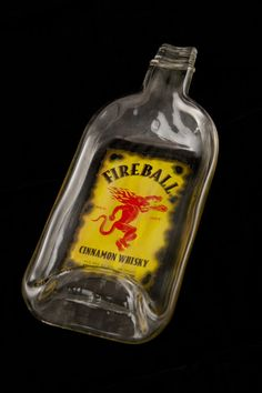 Fireball Whiskey Bottle Melted Into a Dish