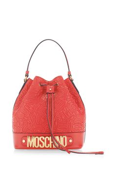 Quilted Letters Bucket Bag In Red by Moschino for Preorder on Moda Operandi