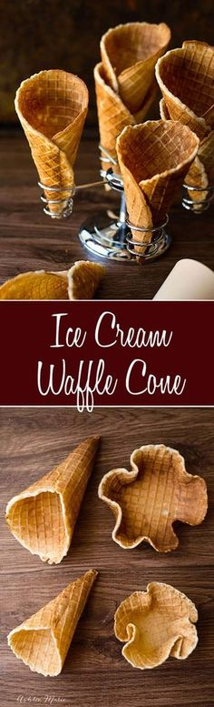 homemade waffle cones are super easy to make, and they taste amazing. Always a huge hit with everyone, make different sized cones or bowls Ice Cream Desserts, Frozen Desserts, Ice Cream Recipes, Frozen Treats, Just Desserts, Delicious Desserts, Dessert Recipes, Yummy Food, Frozen Cookies
