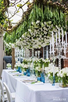 We could never get tired of this view | WedLuxe – Tulip Fever | Photography by: Fiona Kelly Photography Follow @WedLuxe for more wedding inspiration! #wedluxe #wedluxemagazine #tulip #tulips #tulipfever #tulipwedding #whitewedding #bluewedding #whiteandbluewedding #weddinginspo #tabledecor #weddingflowers