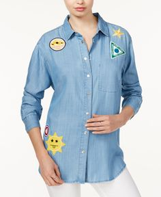Weekend fun calls for this playful button-down shirt from Guess, featuring graphic patches that makes a statement. | Lyocell | Machine washable | Imported | Point collar | Snap button closure at front