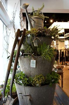 STACKED & planted GALVANIZED containers CREATE wonderful TEXTURE & interest - Embracing Spring