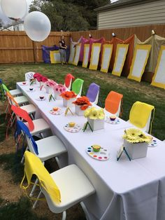 Kinder Hinterhof Kunst Party Idee - Pretty My Party - Party Ideen, Kids Art Party, Kids Party Themes, Art Party Decorations, Toddler Party Ideas, Party Themes For Kids, Art Party Activities, First Birthday Activities, Art Kids, Ideas Party