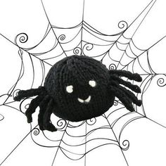 Knit Spider Free Halloween Pattern from Valley Yarns. Finished Size: about tall Yarn: 1 skein Valley Yarns Northampton Wool, color Black, and scraps of Natural or White Needles: US 5 DPNs Free Pattern More Patterns Like This! Dishcloth Knitting Patterns, Knitting Yarn, Free Knitting, Baby Knitting, Knit Patterns, Halloween Knitting Patterns, Halloween Crochet, Knitting Designs, Knitting Ideas